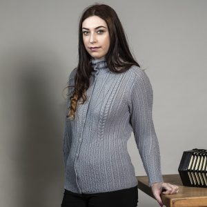 High Neck Aran Cardigan