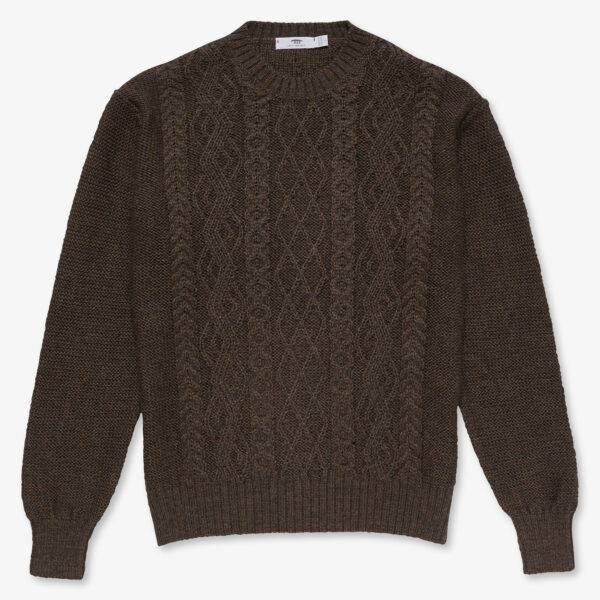 Alpaca Aran Crew Neck Peat Brown