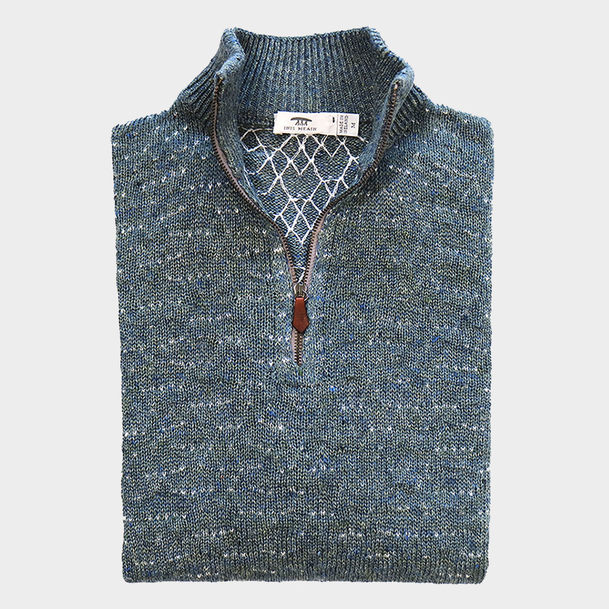 Inis Meáin Knitting Co. Wave Stitch Zip Neck 100% Linen