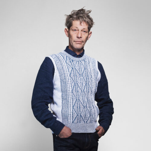 Patented Aran Crew Neck Vest by Inis Meáin