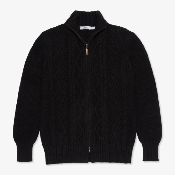 Inis Meáin Classic Aran Zipper in Black
